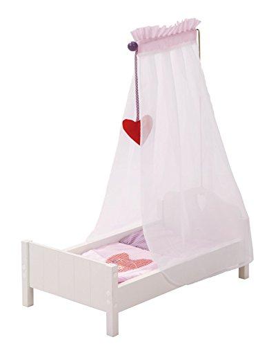 roba Puppenbett aus Puppenmöbel Serie Fienchen, Puppenbett inkl. textiler Ausstattung, Bettwäsche und Himmel, Puppenzubehör, weiß lackiert