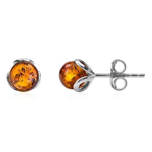 Ostsee Honig Bernstein Sterling Silber Art Deco klein Stud Ohrringe