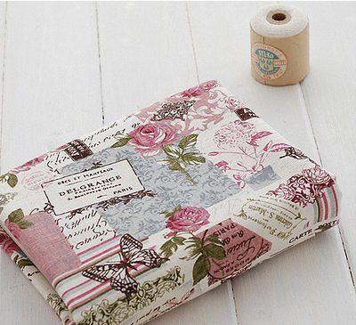 NEU Vintage Chic Französisch Rose Schmetterling Baumwolle Leinen Stoff RETRO