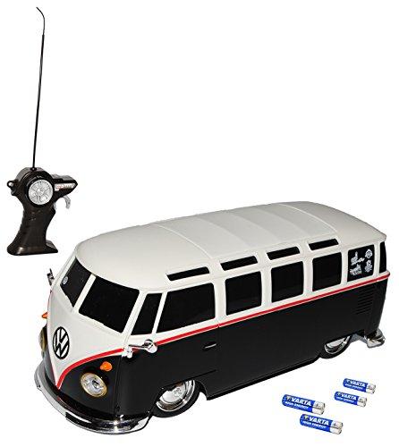 VW Volkswagen T1 Schwarz mit Weiss Samba Bully Bus 1950-1967 40 MHz RC Funkauto - inklusive Batterien - sofort startklar 1/24 Maisto Modell Auto mit individiuellem Wunschkennzeichen