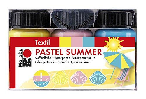 Marabu 171600097 - Textilfarben Set - Pastel Summer, 3 x 15 ml