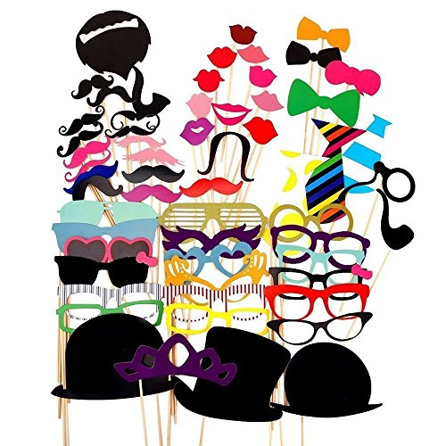 LZHOO 58 Tlg Fotorequisiten & Fotoaccessoires für witzige & lustige Bilder, Hochzeit Party Foto Verkleidung Schnurrbart Lippen Brille Hüten Krawatte DIY Spass Photo Booth Props Set