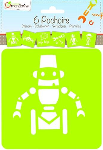 6 verschiedene Schablonen Roboter 15x15cm: Schablonen