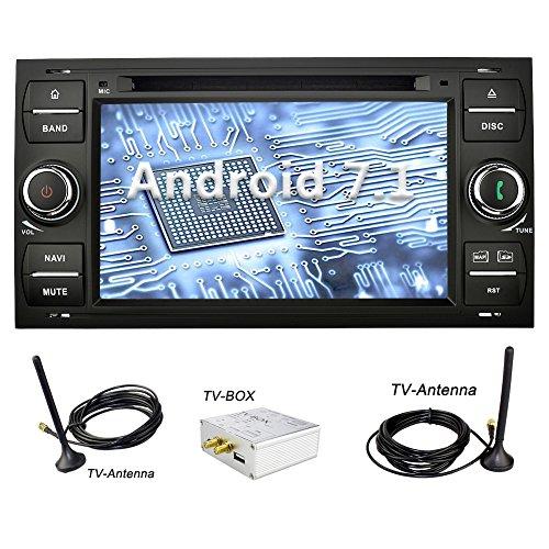 YINUO 7 Zoll 2 Din Android 7.1.1 Nougat 2GB RAM Quad Core Autoradio Moniceiver DVD GPS Navigation 1080P OEM Stecker Canbus 7 Farbe Tastenbeleuchtung für Ford C-Max/Connect/Fiesta/Focus/Fusion/Galaxy/Kuga S-Max/Transit/Mondeo Schwarz Unterstützt DAB+ Bluet
