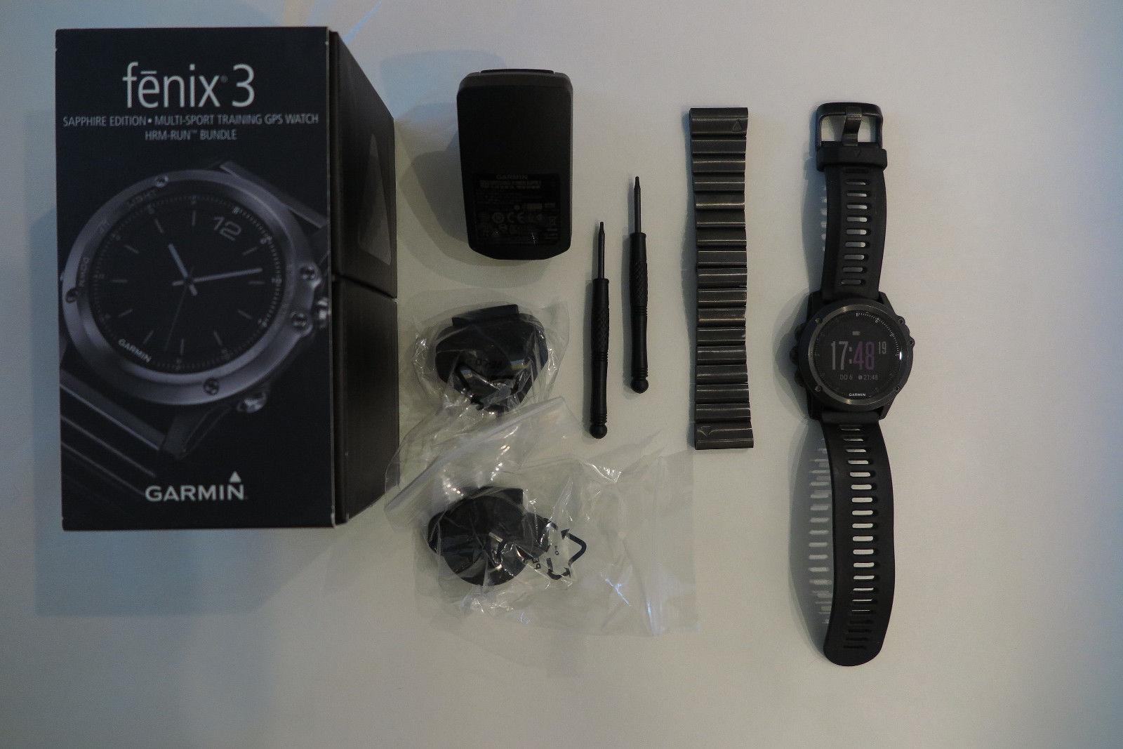 Garmin Fenix 3 Saphir, GPS Sport Uhr, Edelstahl- u Gummiarmband, Restgarantie