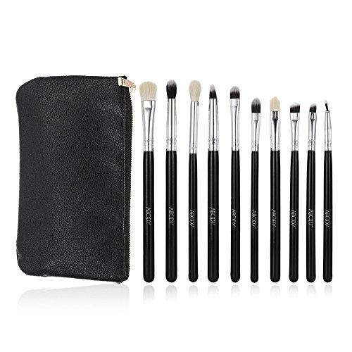 Abody 10St Augenpinsel Set Make-Up Pinselset Kosmetik zum Auftragen von Augen mit Schwarzer Tasche