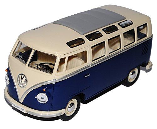 VW Volkswagen T1 Dunkel Blau Weiss Samba Bully Bus 1950-1967 1/24 Modellcarsonline Modell Auto