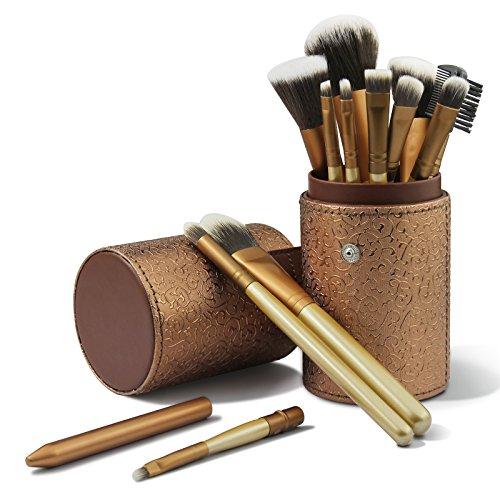 CINEEN Make up Pinselset 12 Stück Schmink Pinsel Kosmetikpinsel einschließlich Foundation Lidschatten Augenbrauen Concealer Gesichtspinsel mit PU Pinselhalter