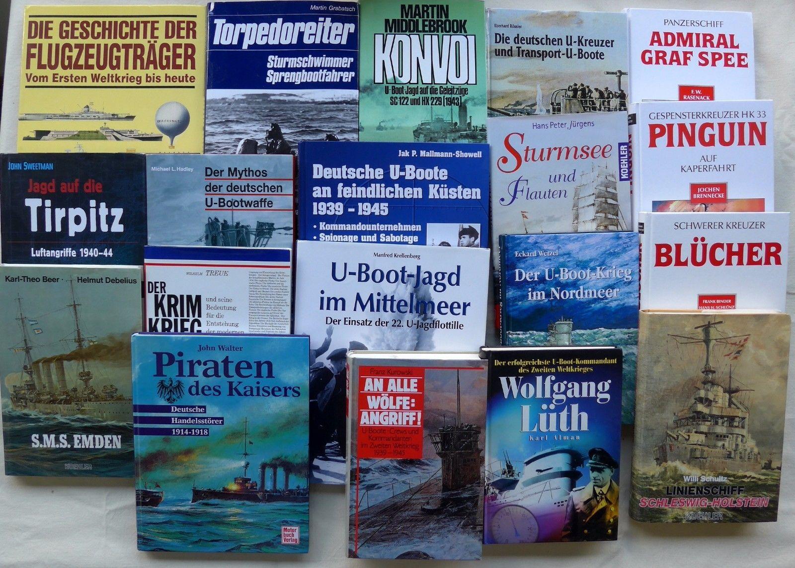Bücherpaket mit 19 Büchern MARINE - Kriegsmarine 2.Weltkrieg U-Boote 1.Weltkrieg