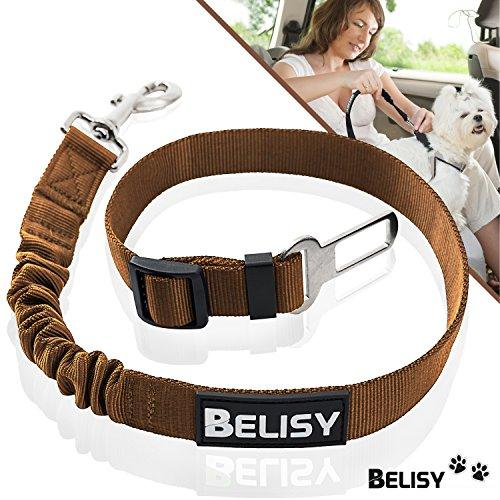 BELISY Hunde-Sicherheits-Gurt fürs Auto - höchste Sicherheit für Dich und Deinen Hund - mit besonders elastischer Ruckdämpfung für maximalen Komfort - passend für alle Hunderassen - höchste Markenqualität - Braun