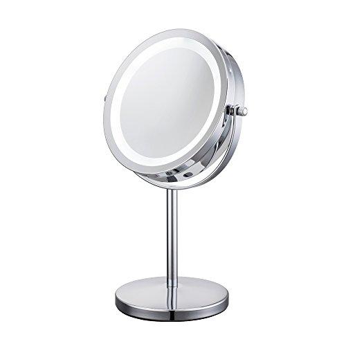 ALHAKIN 360 ° schwenkbarer Kosmetikspiegel mit LED-Beleuchtung und 1/10-facher Vergrößerung, doppelseitig für Schlafzimmer 7-Zoll-Tischspiegel mit blendfreier Beleuchtung / verchromt / 17pcs LED-Beleuchtung