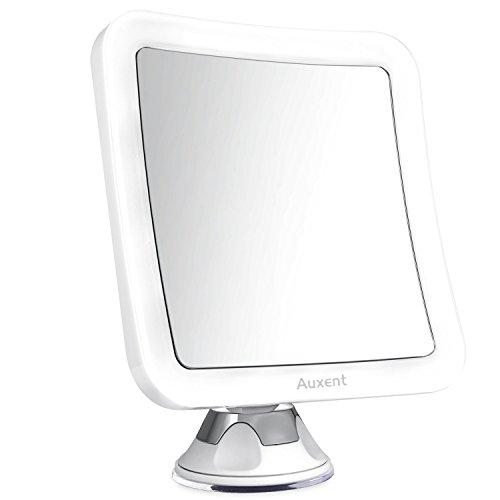 Auxent Kosmetikspiegel LED Beleuchtet mit 10-facher Vergrößerung und Starkem Saugnapf, 360° Schwenkbar, Schminkspiegel viereckig mit Blendfreier Beleuchtung für Zuhause und Unterwegs