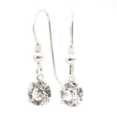 Damen-Ohrhänger 925 Silber-Haken gemacht mit petite funkelnden weiß wie ein Diamant Kristall aus SWAROVSKI®.