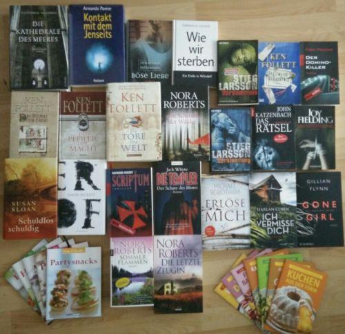 Büchersammlung Buchpaket Thriller Krimi Konvolut 23 Romane & 12 Kochbücher