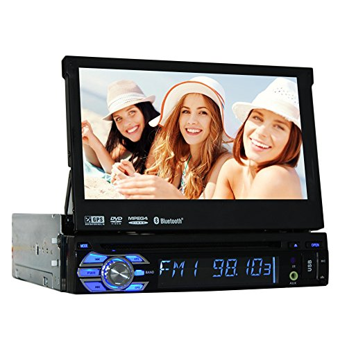 Wince 6.0 Universal Head unit Single Din Car Stereo GPS sat nav DVD Player 7.0 inch In Dash Detachable Panel Autoradio support GPS/Navi/USB/SD/Subwoofer output/Cam-in/Bluetooth/Steering Wheel Control Function/FM/AM RDS Radio Stereo Multimedia Station Navi