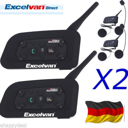 2x Motorrad Bluetooth Gegensprechanlage Intercom Headset Sprechanlage Helm 1200m
