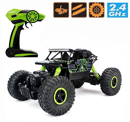 2.4GHz 1/18 RC Rock Crawler,Ferngesteuertes Auto RC Auto Buggy Wagen 4 WD Schacht Fahren Hochgeschwindigkeits Fernbedienung (Grün)