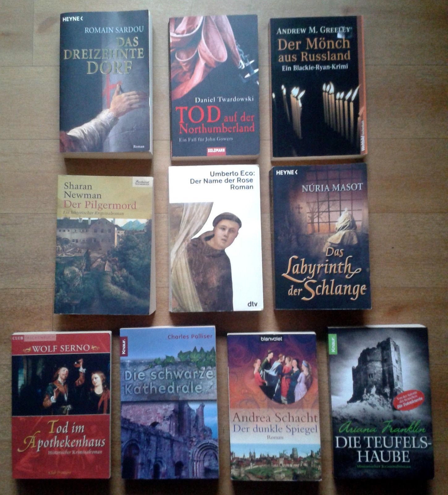 10 historische Kriminalromane Krimipaket Bücherpaket - Der Name der Rose u. a.