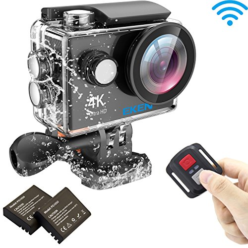 EKEN H9R 4K Actionkamera, wasserdichte Full HD Wifi Sportkamera mit 4K / 2.7K / 1080P60 / 720P120fps Video, 12MP Foto und 170 Weitwinkelobjektiv, beinhaltet 17 Montagesätze, fernbedienung, 2 Batterien (Schwarz)