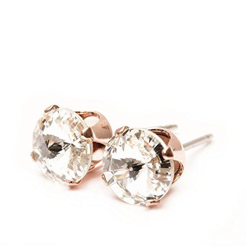 9mm Roségold bearbeitete Ohrstecker mit funkelndem weiß wie ein Diamant Kristall von SWAROVSKI®.Geschenkbox.