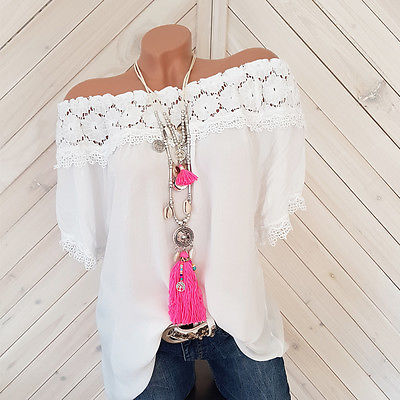 Bluse Tunika Shirt Häkel Spitze weiß off Shoulder Carmen  Gr. 36 38 40 42 R7+8