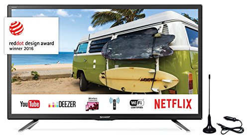 SHARP LC-24CFG6132EM 60,96 cm (24 Zoll) Full-HD Smart Fernseher (Triple Tuner DVB-T/T2HD, DVB-S/S2, DVB-C, HEVC H.265)
