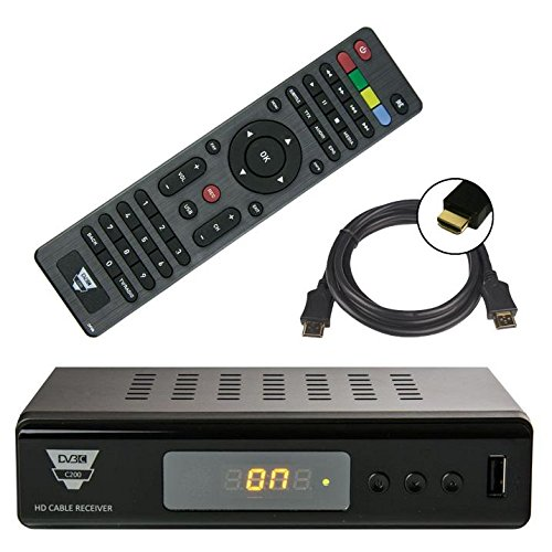 netshop25 SET: Opticum HD Full HD DVB-C Kabelreceiver + HDMI Kabel (HDMI/SCART/USB), Mediaplayer schwarz