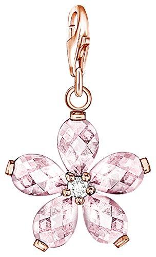 Thomas Sabo Damen-Charm Anhänger Blume 925 Sterling Silber rosegold rosa