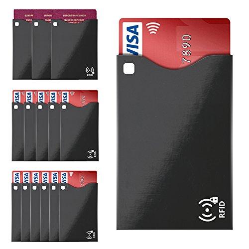 SILEO® RFID Schutzhülle Blocker (14 Stück) - Blocking Schutz für Kreditkarten (11 Hüllen) und Reisepass (3 Hülle) mit RFID & NFC Funk-Chips (Kartenhülle passt in Geldbörse, Portemonnaie, etc.)
