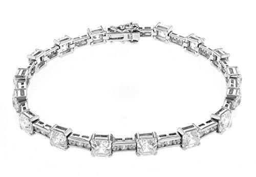 Myia Passiello Damen-Armband Platiniert Zirkonia Weiß Asscherschliff