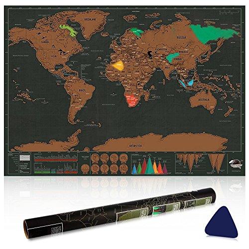 Vitutech Weltkarte zum Rubbeln, Rubbel Weltkarte mit Plektrums schöne Erinnerung für Reisebegeisterte und Globetrotter