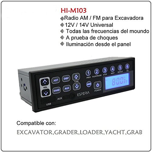 Multi Funktion Stereo AM/FM Radio für Bagger und MP3Player mit AUX, USB Eingang, 2MA Strom Idle, 12V/14V, LCD-Display für große Fahrzeuge Bagger, Traktoren, LKW, Kart, Yacht, Ladegerät, Grundschiene