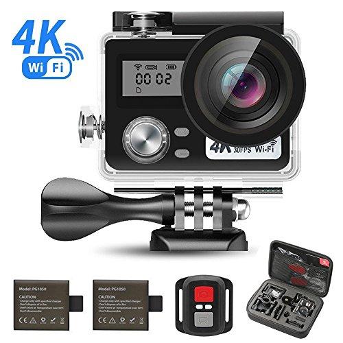 SEGURO Action Sport-Kamera 4K WiFi 1080P HD 16MP Cam 170 Ultra-Weitwinkel, Wasserdicht, Doppelschirm, 2 nachladbare Batterie und Zubehör Kits + Hand tragen Installationssatzbeutel