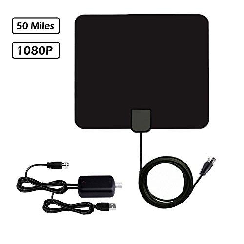 Digitale TV Antenne, Wishpower HDTV 1080p Indoor Fernseher Antenne mit 50 Meilen Reichweite, Abnehmbarem Signal Verstärker, 13.2 Fuß Koaxialkabel für Besseren Empfang
