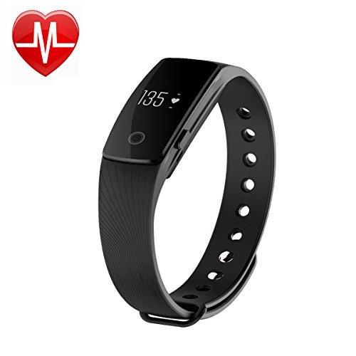 AsiaLONG Fitness Armband mit Pulsmesser - Puls Armband Schrittzähler Fitness Tracker Aktivitätstracker mit Schlafanalyse, Kalorienzähler, Vibrationswecker Anruf SMS Whatsapp Vibration für iOS und Android Handy (Upgrade)