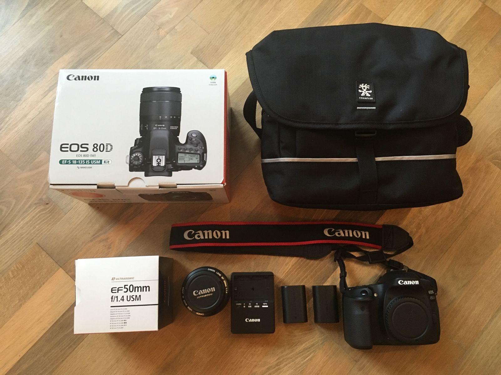 Canon EOS 80D 24.2 MP DSLR-Digitalkamera + 50mm Objektiv + Extras