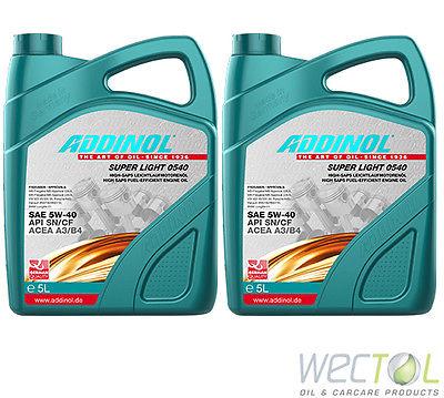 10 Liter Addinol SUPER LIGHT 0540 5W-40 Motoröl für viele VW Audi MB Renault 2x5
