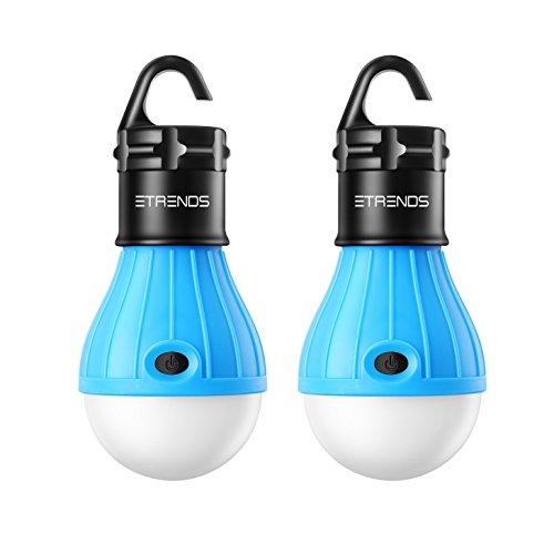 2 Stück E-TRENDS® Campinglampe Portable LED Laterne Zelt Leuchtmittel für Camping Wandern Angeln Notlicht, batteriebetrieben Camping Ausrüstung Gear Gadgets Lampe für drinnen und draußen - blau