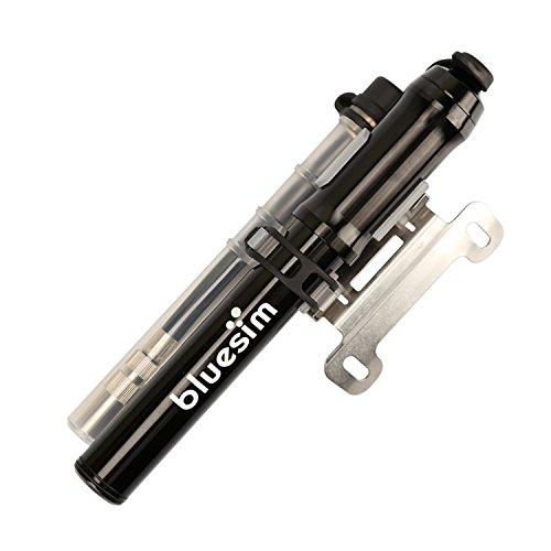 Bluesim Fahrradpumpe Minipumpe Luftpumpe Ballpumpe Standpumpe Mini-Fahrradpumpe mit Befestigungsklammer für Presta & Schrader Ventil hohen Druck 18 bar 260 psi für Fahrrad und Bälle