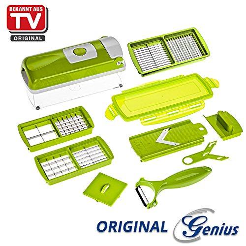 Genius Nicer Dicer Smart | 10 Teile | Alles-Schneider | Hobeln | Schneiden | Schälen | Würfeln | Achteln | Obst- und Gemüseschneider | Bekannt aus TV | NEU