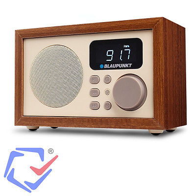 Radio mit Holzgehäuse Retro Anlage Digital LCD FM MP3 microSD USB AUX Wecker +