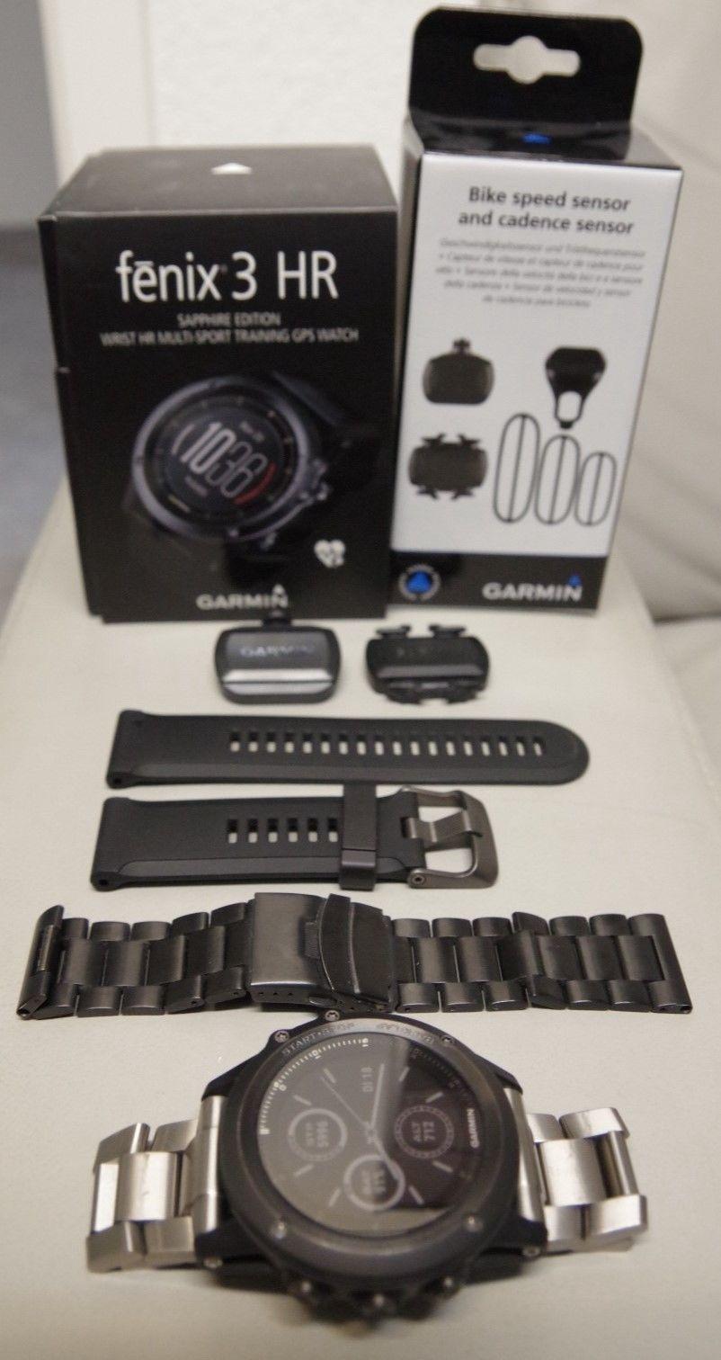 Garmin fenix 3 HR Sapphire Edition + Tritt- & Geschwindigkeitssensor + Armbänder