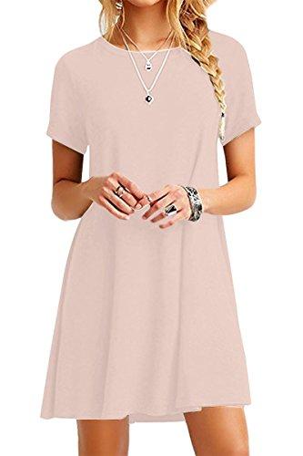 YMING Damen Lockeres Kleid Lose Blusenkeid Kurzarm Lange Shirt Casual Strickkleid Midi,Kaki,L / DE 40