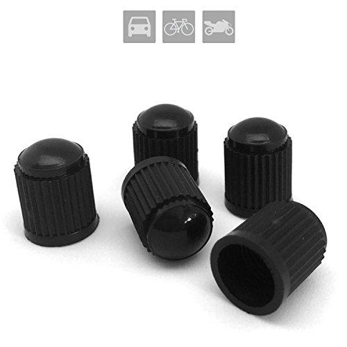 5x Ventilkappen für Auto, Motorrad und Fahrrad | Ventildeckel | Autoventilkappen - aus schwarzem Kunststoff