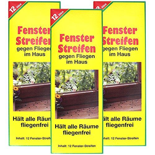 COM-FOUR® 36x Fliegenstreifen, Fliegen-Fensterstreifen, gegen Fliegen, Mücken etc. im Haus