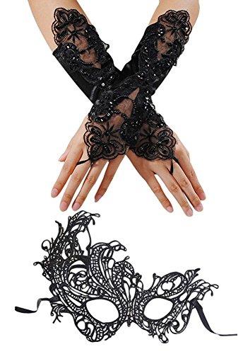 Ciaoed Maskerade Maske Damen Spitze Gesicht Augenmaske und Fingerlose Gothic Hochzeit Handschuhe Venezianischen Maskenball Karneval schwarz