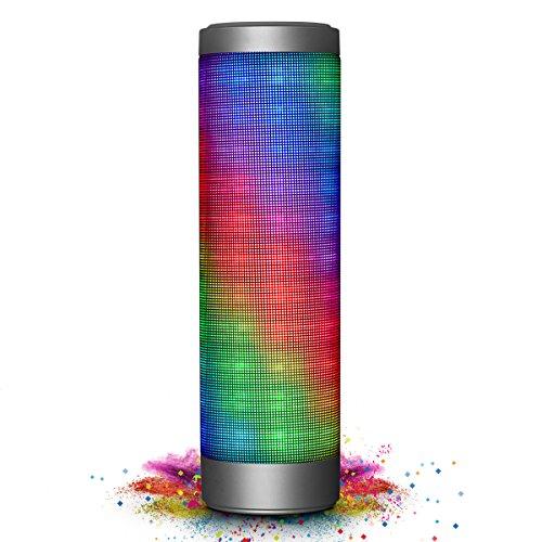 Mobiler Bluetooth Lautsprecher, ELEGIANT Tragbarer Bluetooth 4.0 Wireless LED Lautsprecher 2 x 8W Stereo Boombox Boxen Speaker mit 6 LED Licht Modi+ 2x2000 mA/ 10 Stunden+ Reinem Bass + eingebautem Mikrofon Freisprecheinrichtung für Indoor Outdoor Sport i