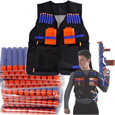 100× Refill Gun Bullet Dart Pfeile Clip + Elite Tactical Vest für Nerf N-Strike