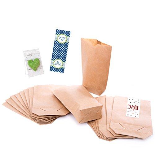 1a-Qualität - 25 kleine braune Papier Beutel (mit Testaufklebern !!!) mit Boden (14 x 22 x 5,6 cm) aus Kraftpapier; für Geschenktüten, Adventskalender, Geschenke verpacken usw.