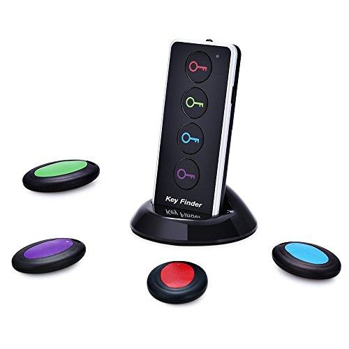 Schlüsselfinder , MENGGOOD Wireless Key Finder Funk Telefon Finder Intelligent Tracker locator mit LED Taschenlampe Keychain Anti verloren Sofort Finden [4 Empfänger & 1 Sender]
